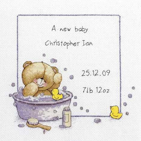 Bath Time Birth Sampler Forever Friends Cross Stitch Kit