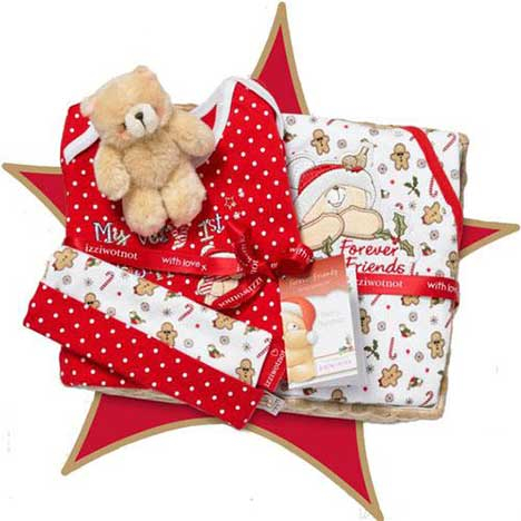 Candy Cane Forever Friends Small Basket Gift Set (3-6 Months)