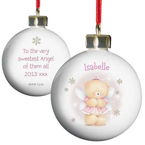 Personalised Forever Friends Angel Christmas Tree Bauble