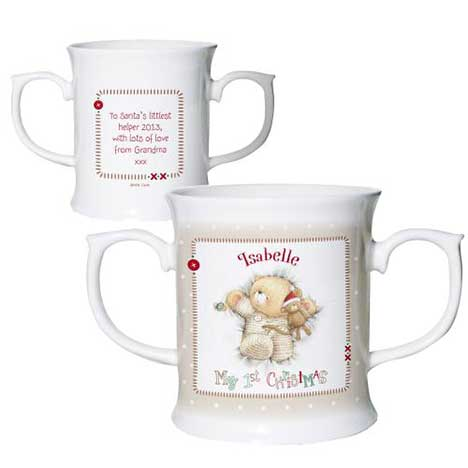 Personalised Forever Friends My 1st Christmas Double Handled Mug