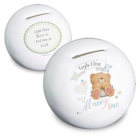 Personalised Forever Friends Bone China Baby Money Box