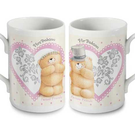 Personalised Forever Friends Wedding Mugs Set