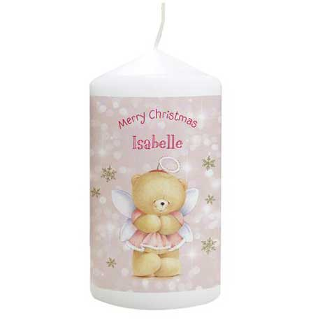 Personalised Forever Friends Christmas Angel Candle