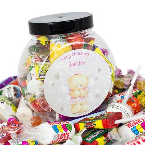 Personalised Forever Friends Christmas Angel 250g Sweet Jar