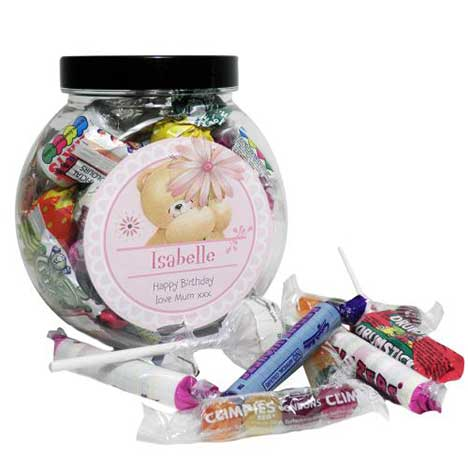 Personalised Forever Friends Big Flower 250g Sweet Jar