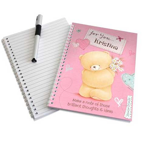 Personalised Forever Friends Pink Craft A5 Notebook
