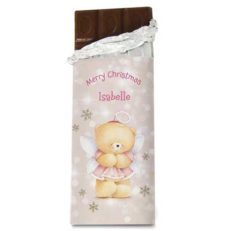 Personalised Forever Friends Christmas Angel 100g Chocolate Bar