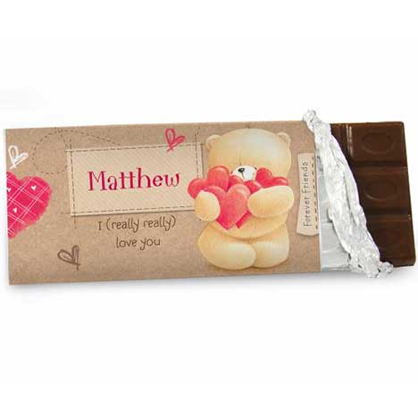 Personalised Forever Friends Love Heart 100g Chocolate Bar