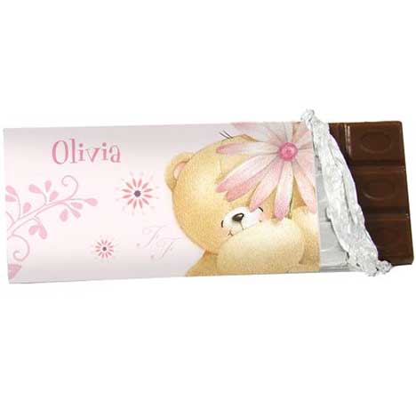 Personalised Forever Friends Big Flower 100g Chocolate Bar