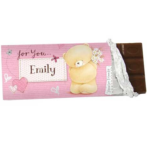 Personalised Forever Friends Pink Craft 100g Chocolate Bar