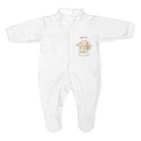 Personalised Forever Friends My First Christmas Sleep suit
