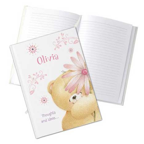 Personalised Forever Friends Big Flower Hardback A5 Notebook
