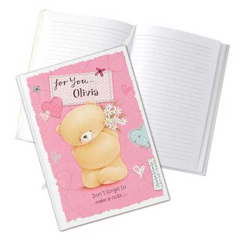 Personalised Forever Friends Pink Craft Hardback Notebook