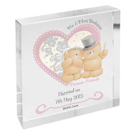 Personalised Forever Friends Wedding Large Crystal Block