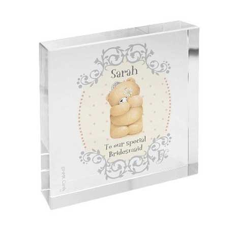 Personalised Forever Friends Bridesmaid Large Glass Block
