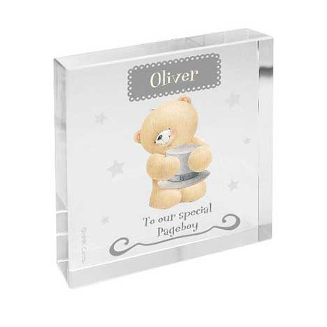 Personalised Forever Friends Pageboy Large Crystal Block