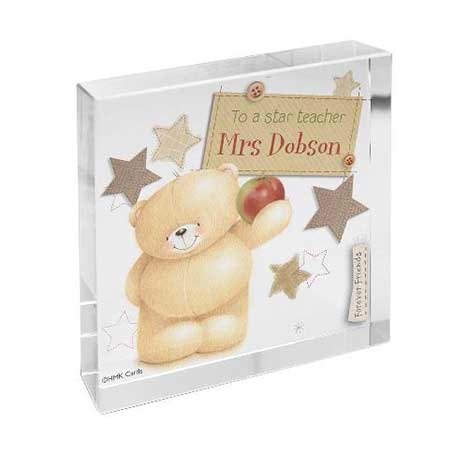 Personalised Forever Friends Teacher Glass Block