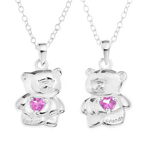 Sterling Silver Set of 2 Forever Friends Friendship pendants
