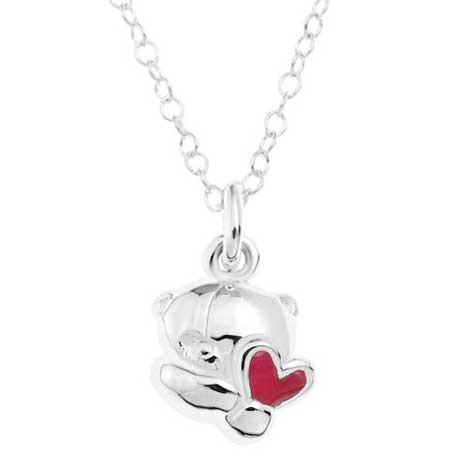 Sterling Silver Forever Friends Bear Pendant